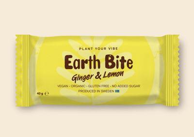 Earth Bite EKO Energibar - Ginger & Lemon 40g - Tillverkad i Sverige